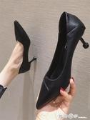 高跟鞋女鞋子2020春季新款百搭時尚紅色婚鞋尖頭細跟單鞋ol工作鞋 西城故事