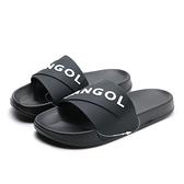 KANGOL 拖鞋 全黑 大LOGO 橡膠 一片拖 防水耐磨 男女 (布魯克林) 6025220120