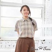 【Tiara Tiara】百貨同步aw 經典卡其格紋摺領襯衫(卡其) 漢神獨家