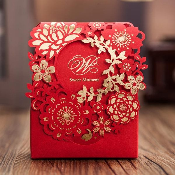 20個裝喜糖盒  糖盒子結婚 婚禮紅色糖盒 燙金鏤空雕花2019個性