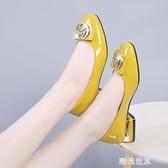 大東同款女鞋韓版秋季新款百搭中跟工作皮鞋淺口粗跟單鞋女潮『潮流世家』