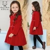 女童秋裝2019新款兒童外套寶寶風衣紅色絲絨大衣中長款秋季洋氣