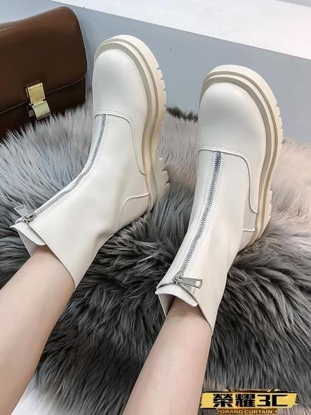 中筒靴 白色馬丁靴女2021年新款秋冬百搭厚底英倫風中筒短靴網紅爆款 榮耀