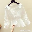 長袖襯衫 春秋季洋氣泡泡袖白襯衫女裝正韓收腰顯瘦長袖上衣小衫-Ballet朵朵