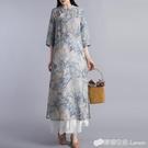 春夏新款大碼中國風水墨畫高雅復古旗袍珠扣七分袖苧麻洋裝
