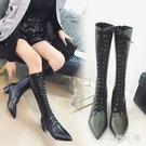 尖頭單鞋 長筒靴馬丁靴女新款粗跟機車瘦瘦靴系帶騎士靴小辣椒女靴 DR32699【衣好月圓】