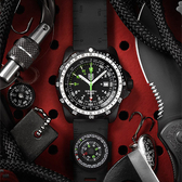 特殊偵察RECON系列藍寶鏡面指南針腕錶--黑x白時標/46mm LUMINOX 雷明時