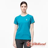 【wildland 荒野】女 彈性輕量扒線圓領排汗衫『孔雀藍』0A91631 運動 露營 登山 吸濕 排汗 快乾
