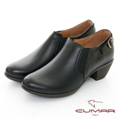 【CUMAR】極簡生活 - 簡約側邊鬆緊粗跟踝靴(黑色)