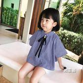 (萬聖節鉅惠)短袖襯衫2018夏季新品女童學院風格子襯衫寶寶正韓短袖格子洋氣上衣