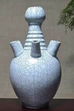 [協貿國際]  青瓷仿爐窯六管瓶書房客廳青瓷擺件 (1入)