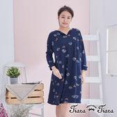 【Tiara Tiara】百貨同步 幾何森林印象長袖洋裝(深藍/藍/黃) 店推 新品穿搭