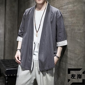 中國風古風男裝道袍男襯衫古風開衫漢服休閒寬鬆外套【左岸男裝】