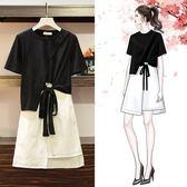 促銷價不退換T恤半身裙套裝裙XL-5XL中大尺碼33561夏裝新款時尚洋氣不規則顯瘦兩件套