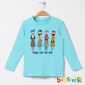 印花長袖T恤06水藍色-bossini女童