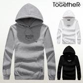ToGetheR+【J2122】簡約創意款手臂字母印花刷毛連帽長袖T恤(三色)