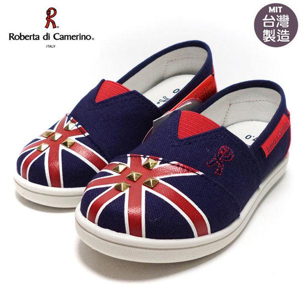 童鞋 Roberta諾貝達鉚釘英國風懶人休閒鞋.帆布鞋 藍色17-22號~EMMA商城