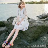 沙灘裙女大碼巴厘島三亞泰國海邊度假顯瘦白色超仙洋裝子 水晶鞋坊