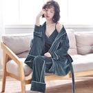 睡衣 Gqueen新品正韓金絲絨睡衣女秋冬寬鬆長袖家居服睡袍三件組可外穿