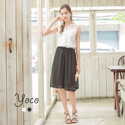 東京著衣【YOCO】浪漫V領蕾絲拼接條紋腰綁帶無袖洋裝-S.M.L(171272)