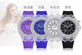 凱瑞新款夜光彩燈手錶女學生情侶表港硅膠表帶潮流時尚男手錶文藝滿天星