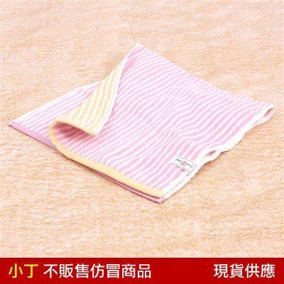雙色條紋洗臉巾-粉34*75cm/日本無撚寶寶嬰兒洗澡紗布巾口水巾 JOGAN C-PNBS-080-PI