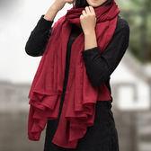 棉麻圍巾季純色披肩兩用韓版春秋長款絲巾