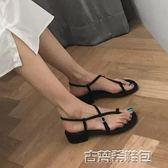高跟鞋 夏季新款韓版羅馬一字扣夾趾涼鞋女中跟粗跟黑色交叉綁帶涼鞋 古梵希
