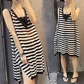 歐洲站新款針織衫背心裙女夏寬鬆條紋洋裝鏤空微透V領無袖長裙 格蘭小鋪