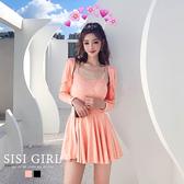 SISI【E20003】春夏女神清新性感兩件式套裝短版小外套細肩帶字母洋裝短裙傘裙連身裙收腰遮肉修身