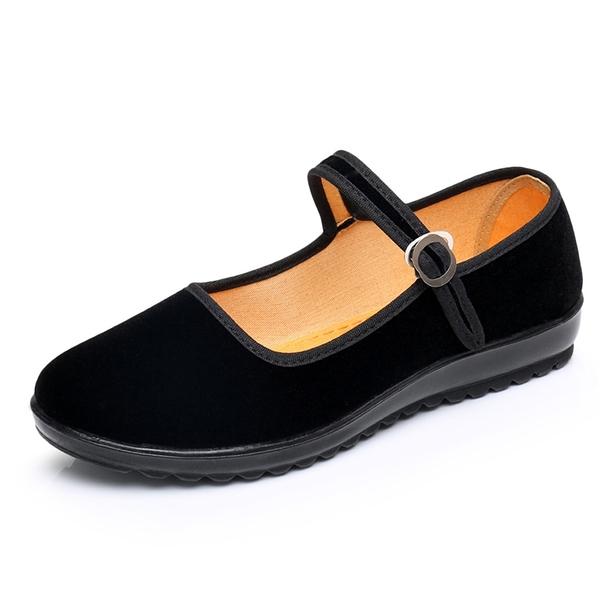 布鞋工作單鞋女平底坡跟鬆糕一字帶酒店上班禮儀舞蹈黑布鞋【618優惠】