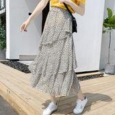 【免運】大碼波點正韓半身裙女夏中長款蛋糕裙不規則雪紡a字裙高腰仙女裙子