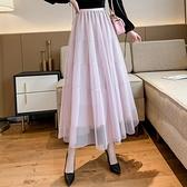 松緊腰半身裙2021 春款 拼接閃光網紗半身裙DJB07-A1 依品國際