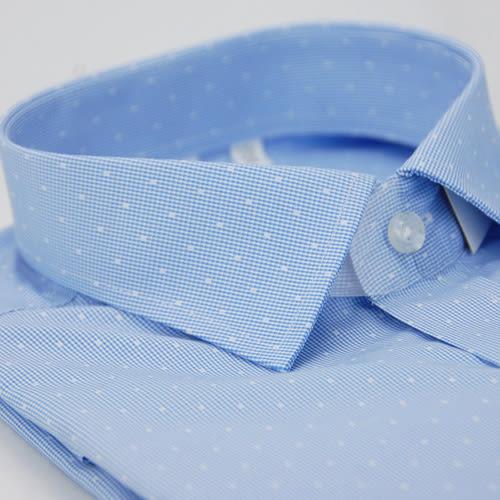 【金‧安德森】藍色白方格窄版長袖襯衫