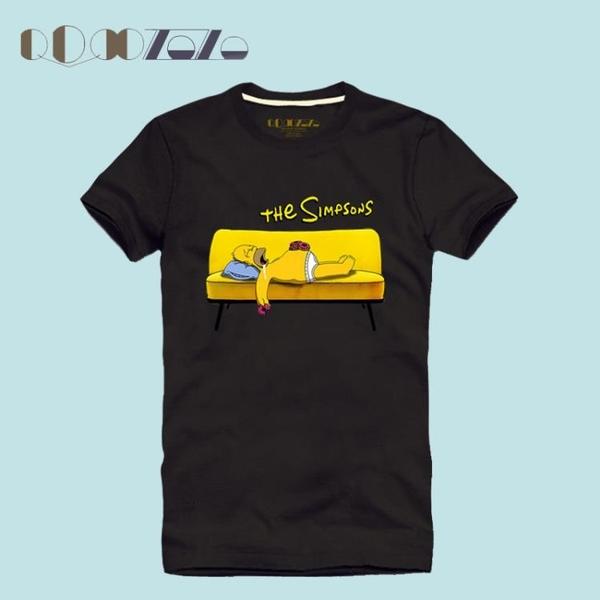 Qoqozozo春夏潮流男修身韓版純棉短袖T恤卡通美漫 辛普森一家 -7