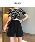 小個子150cm夏季五分西裝短褲女夏寬鬆高腰西裝褲黑色中褲五分褲 黛尼時尚精品