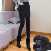 包臀裙褲加絨一體七彩棉修身假兩件套