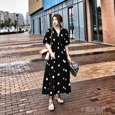 大碼法式優雅大波點夏日v領復古氣質顯瘦a字長裙胖mm洋裝女『小宅妮時尚』
