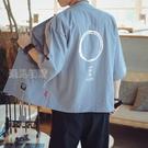 和服外套中國風道袍襯衫男寬鬆大碼唐裝漢服開衫和服七分袖秋季薄款外套潮25日髮 快速出貨