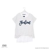 【INI】自然混搭、假兩件式條紋造型拼接長版上衣.白色