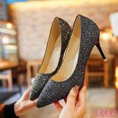 中跟鞋 婚禮銀色尖頭高跟鞋亮片婚鞋漸變色細跟中跟單鞋女伴娘鞋宴會(4色34-40)