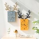 掛鐘客廳北歐簡約時鐘電子鐘掛牆家用鐘飾創意鹿頭掛表餐廳裝飾鐘 檸檬衣舍