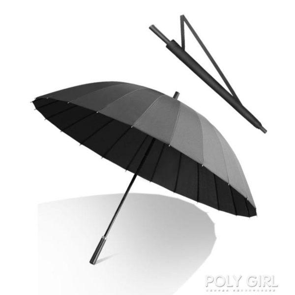 雨傘 男士24骨長柄雨傘大號雙人加固超大抗風暴三人黑色直柄防風商務男 polygirl