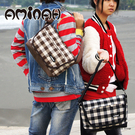 日系經典格紋 風靡日本街頭流行款 側背包 / 肩背包 咖啡格紋 AMINAH~【am-0125】
