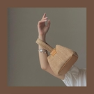 手提包 少女凹造型可愛手提草編包新款小眾個性度假風鏈條單肩編織包【快速出貨八折鉅惠】