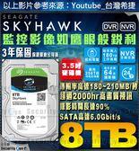 【台灣安防家】8TB 3.5吋 Seagate 監控 高畫質 影音 硬碟 SATA 6 智慧 適 NVR DVR 全新盒裝公司貨