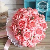 仿真韓式手捧花新娘手捧花束仿真玫瑰婚禮拍攝道具結婚婚慶用花『潮流世家』