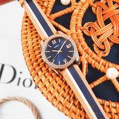 FOSSIL / ES4594 / Scarlette Mini 晶鑽鑲圈 拼接撞色 礦石強化玻璃 真皮手錶 藍x玫瑰金框x卡其 32mm