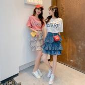 超殺29折 韓系字母印花不規則蛋糕豹紋裙套裝短袖裙裝