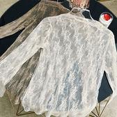 長袖蕾絲上衣秋冬小衫女透視網紗打底衫百搭冬季2018新品毛衣內搭 生日禮物